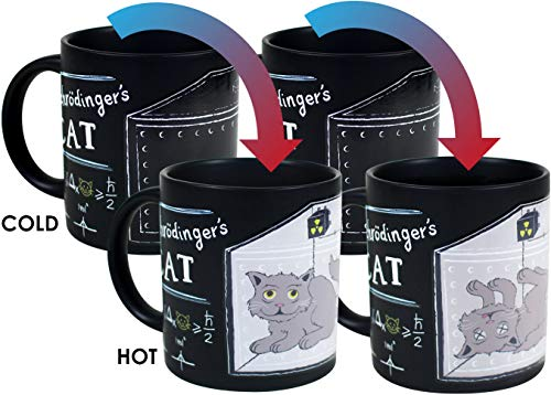 - Schrodinger's Cat Heat Changing Mug Set - Add Coffee or Tea and Observe Schrodiner's Famous Experiment - Comes in a Fun Gift Box