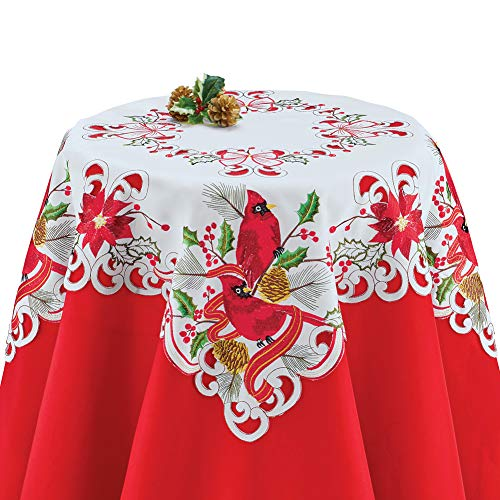 - Collections Etc Beautiful Cardinals Holiday Table Runner/Topper Linens, Festive Dining Room Accents, Square