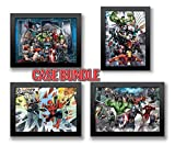 Marvel's Avengers Heroes 3D Picture 20'' x 27'' : ''Captain America Iron Man Thor Hulk Spider-man'' 3D Lenticular Poster Artwork Wall Decor Animated Image Framed w/ Black Frame (Bundle (All 4 Pieces))