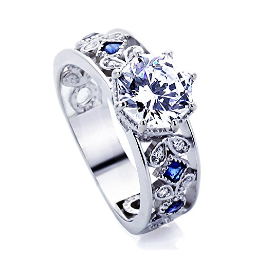 Sterling Silver 2ct Octagon Cut CZ Simulated Blue Sapphire CZ Accent Engagement Ring ( Size 5 to 9 ) (Platinum Blue Sapphire Ring compare prices)