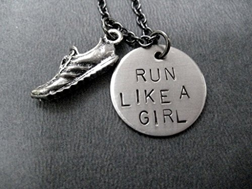 RUN LIKE A GIRL Necklace on 18 inch Gunmetal Chain - Pewter Running Shoe Charm with Hand Stamped Round Nickel Silver Charm