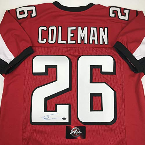 innovative design 5d9f1 2fc52 Autographed/Signed Tevin Coleman Atlanta Red Football Jersey ...