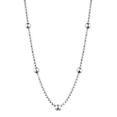 SHEGRACE 925 Sterling Silver 1.1mm Ball Bead Chain Necklace for Woman 8yyTme