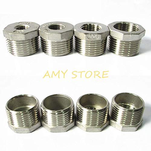 1Pc 304 Stainless Steel Pipe Fitting Hex Bushing Reducing Reducer Male-Female Bspt 1/8