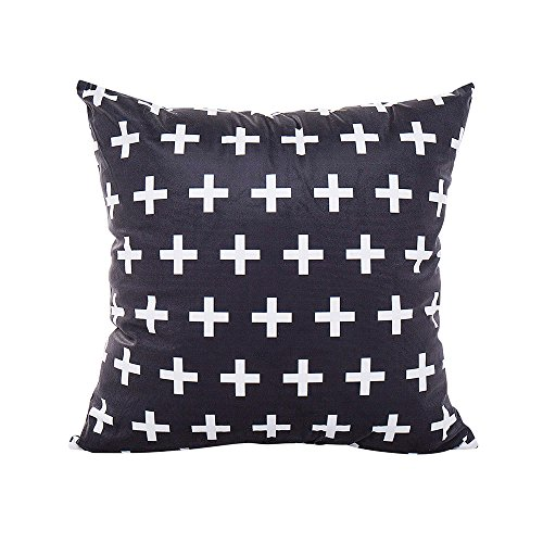Fulijie Throw Pillow Covers Cases for Couch Sofa Home Decor Modern Geometric 18 X 18 Inches Black Cushion -