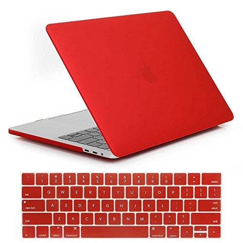 MacBook Pro 15 inch Case,Plastic Hard Case and Keyboard Cover for Apple MacBook Pro 15 inch with Touch Bar and Touch ID (2016 Release A1707),Red