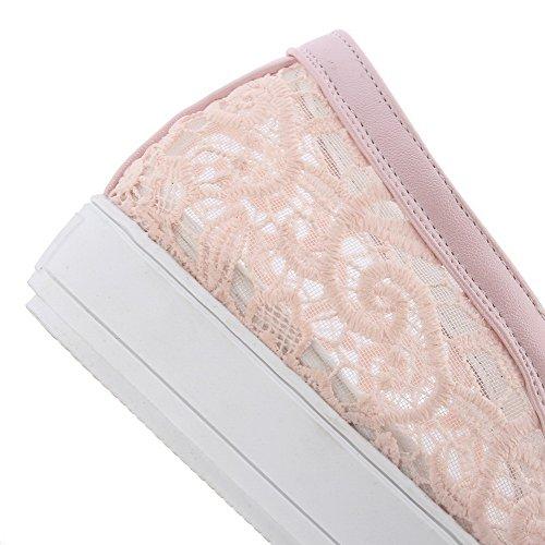 AllhqFashion Damen Rein PU Leder Niedriger Absatz Rund Zehe Ziehen auf Pumps Schuhe Pink