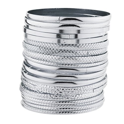 - Lux Accessories Silvertone Multi Textured and Smooth Aztec Bangle Bracelet Set