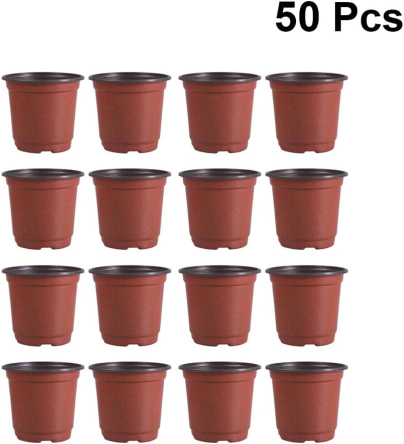DOITOOL 50 Piezas Macetas de plástico de 10 cm para Plantas pequeña macetas de vivero de plástico para Plantas de Semillas Macetas para Flores y Plantas (Diámetro 100mm)
