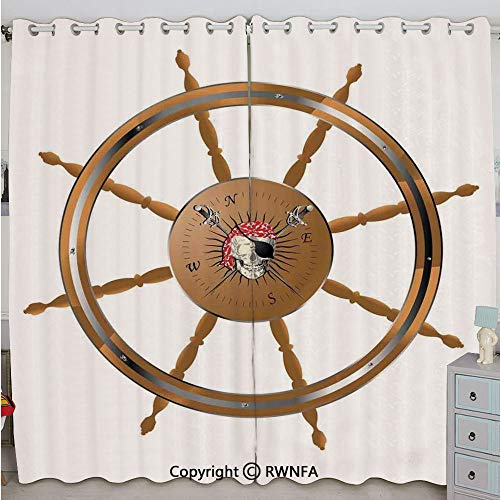 Justin Harve window Wooden Steering Wheel with Image of Pirate Skull Seaman Lifestyle Oceanic Home Custom Blackout Curtains Set of 2 Panels(100