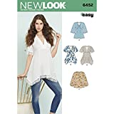 New Look Patterns Misses' Tops with Bodice and Hemline Variations A (8-10-12-14-16-18-20) 6452