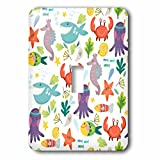 3dRose (lsp_265025_1) Single Toggle Switch (1) Colorful Kids Sea Life of Crabs, Octopus, Fish, and Whales Pattern