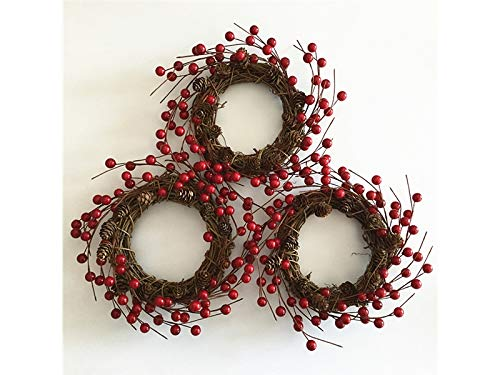 Junson Xmas Gift Simulation Berry Christmas Wreath Door Hanging Ornaments Room Christmas Tree Pendants for Decoration(Red) for Xmas by Junson (Image #4)