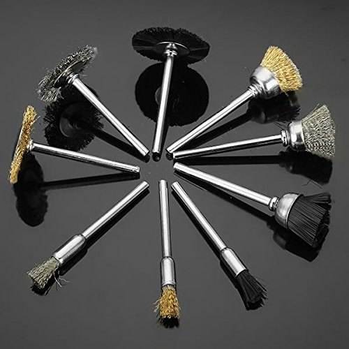 9 Pieces 3 mm Shank Brass Steel Wire Brushes Nylon Wheel Brushes Polishing Tool for Dremel (Multicolour) (B0755JW5N5) Amazon Price History, Amazon Price Tracker