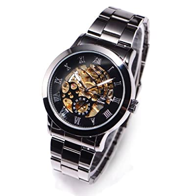 4 Hands Gun Black Mens Skeleton Automatic Mechanical Wristwatch + Gift Box USA Stock