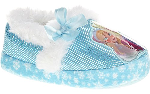 Disne Disney Girl's Anna and Elsa Aline Slippers (11-12 M US Little Kid, Blue/White)]()