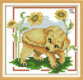 Joy Sunday Cross Stitch kits, The dog bites its tail,11CT Printed, 19cm×18 or 7.41