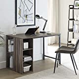 """AMOAK Computer Desk 47"""" with 5 Shelves Storage,Writing Office Desk Workstation Table for Home,Retro Gray"""