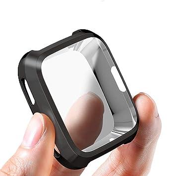 Corki Fitbit Versa Funda, Protector de Pantalla Cubierta Protectora Completa Carcasa para Fitbit Versa Smartwatch, Negro