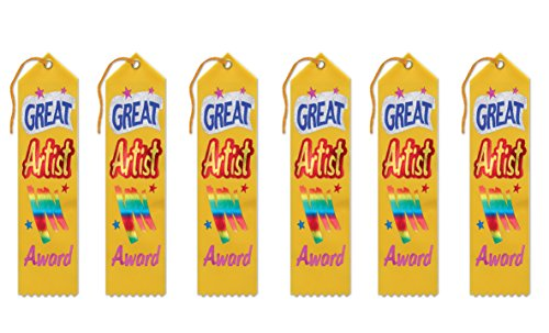 Beistle AR055 Great Artist Award Ribbons, 2 by 8-Inch, 6-Pack ()