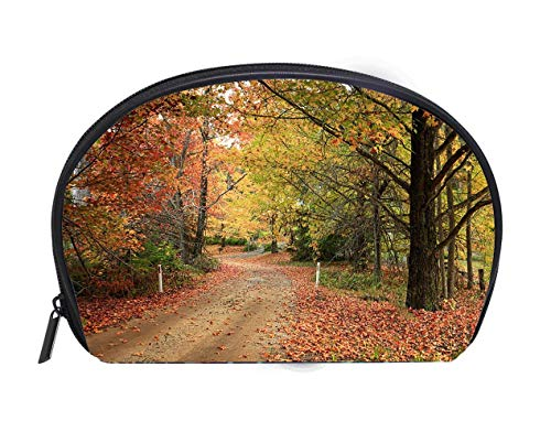 Portable Toiletry Cosmetic Bag Country road meandering through trees with autumn foliage Travel Cosmetic Case Luxury Makeup Artist Bag