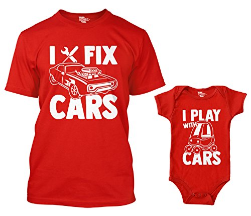 I Fix Cars/I Play with Cars Matching Bodysuit & Men