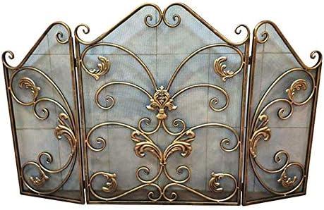 リビングルーム暖炉スクリーン3パネル、ゴールドメタル暖炉立ち門の装飾、錬鉄メッシュで赤ちゃん安全証明フェンス - 120X77cm