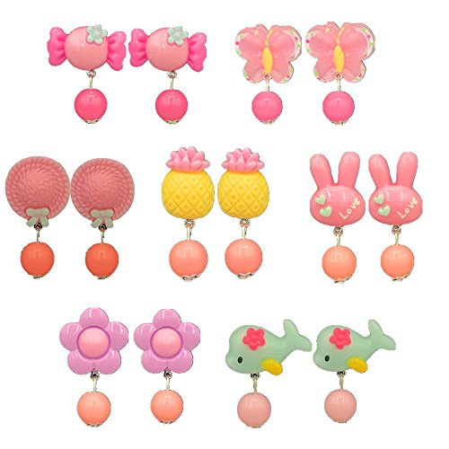 RAINBOW TOYFROG 7pc Young Girls Play Earrings, Clip-on Jewelry, Easter,Dress-up fun, Pretend Play princess, Little kids accessories, birthday gifts, Party Favor,value set in Box