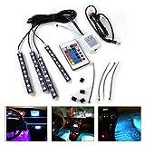 beler Car Interior Floor 9 LED Remote Control Decorative Atmosphere Colorful Neon Lights Strip Kit
