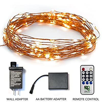 Twinkling LED Fairy String Lights - Fully Waterproof, Indoor Outdoor 39ft 100 Bulb, Standard Plug In + Battery Powered, Warm White Copper Wire Decorative Lighting with Remote Control