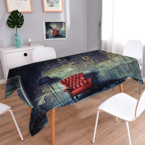 Antique Square Dinner Picnic Table Cloth Old Armchair Floor Lamp in Grunge Interior Damaged Messy Abandoned House Waterproof Table Cover for Kitchen Pale Green Red Black Size: W50