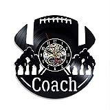 Handmade Solutions EU Football Players and Ball 12'' Vinyl Record Wall Clock - College Team Coach Birthday Gift