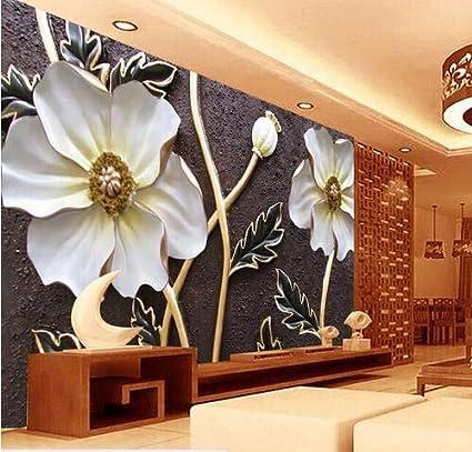 Papel Tapiz Floral Blanco En Relieve Para Paredes Murales De Fotos