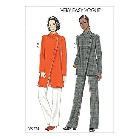 Moldes de costura fácil, de Vogue. Pantalones y chaquetas con forro asimétrico 9274: Amazon.es: Hogar
