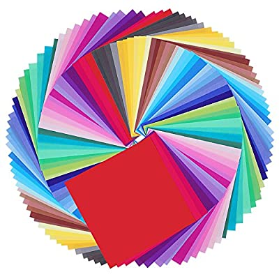 Caydo 50 Vivid Colors 200 Sheets Single Sided Origami Paper 6-Inch by 6-Inch for Arts and Crafts Projects