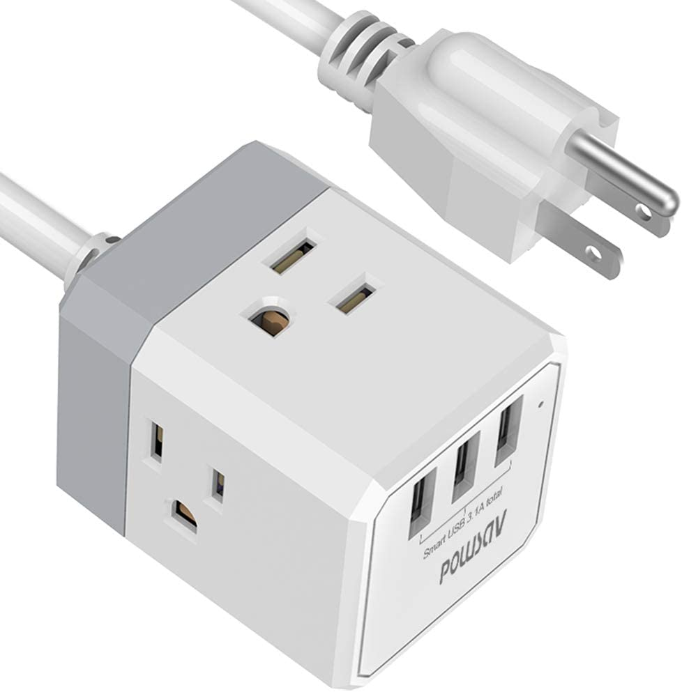 Power Strip, POWSAV Extension Cord with 3 USB Ports(Smart 3.0A Total) and 3-Outlet Extender, 6 Feet Cord, Compact Size for Cruise Ship, Home, Office,Dorm Essentials, ETL Listed: Home Audio & Theater