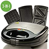OVENTE GPI302B 3-in-1 Electric Sandwich Maker with Detachable Non-Stick Waffle and Grill Plates, 750-Watts, LED Indicator Lights, Cool Touch Handle, Anti-Skid Feet