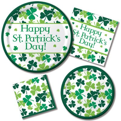 Price comparison product image Happy St. Patrick's Day Shamrock Scatter - Plates & Napkins - 8 Guest Party Bundle - 4 Items: Dinner & Dessert Plates, Luncheon & Beverage Napkins