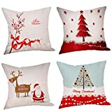 Usstore 4PC Merry Christmas Pillowcases Cover Home Decoration for Cafe Living Sofas Beds Room (D)