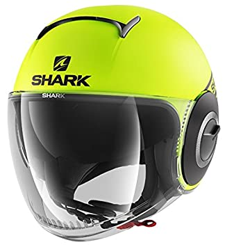 Shark casco jet Nano Street talla neón negro amarillo, talla M