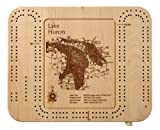 Belleau Lake - Carroll County - NH - Cribbage Board 9 x 12 in - Laser Etched Wood Nautical Chart and Topographic Depth map.