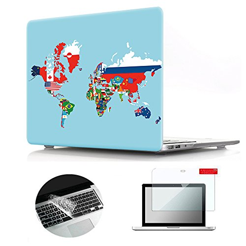 Se7enline Macbook Pro 13 Case Pattern Soft Touch Hard Shell Plastic Laptop Protective Cover for Macbook Pro A1278 with CD ROM Keyboard Cover Skin Screen Protector 3 in 1 Bundle, Flag World Map (Flag Plastic Hard Case)