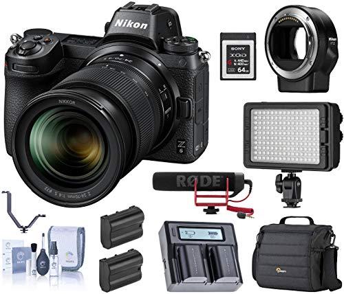 Nikon Z6 FX-Format Mirrorless Camera w/NIKKOR Z 24-70mm f/4 S Lens, Bundle with Mount Adapter FTZ,Bag, 64GB XQD Card, Rode Mic, LED Light, 2 Batteries, Dual Charger, 3 Shoe V-Bracket, Cleaning Kit
