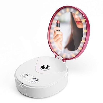 Vaporizador Facial Nano Portátil Espejo Práctico Con Luces Humedad Iónica Rocío De Niebla Fría Aceite Seco