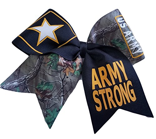 (Cheer bows Camouflage U.S. Army Strong Military Hair Bow)