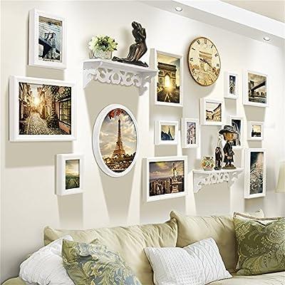 ALUS- European photo wall living room Creative personality Shelf photo frame wall wall clock combination (picture frames 14 pcs, Shelf 2 pcs, wall clock 1 pcs)