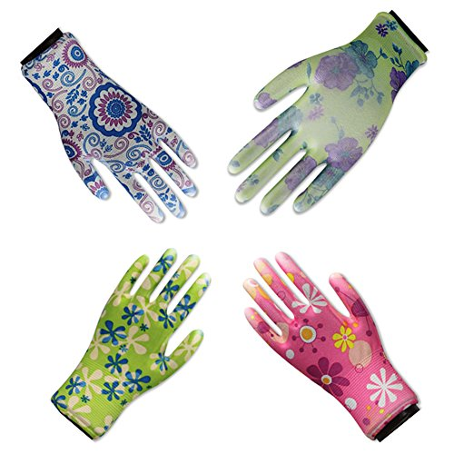 4 Pairs Gardening Gloves for Women,Work Gloves,Breathable Nylon Garden Glove
