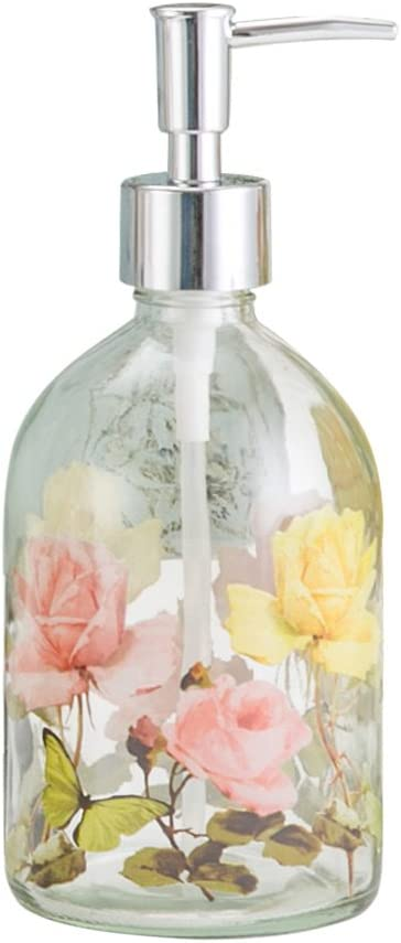 Glass Soap Pump Dispenser Floral and Butterfly 17 Ounce by A Ting