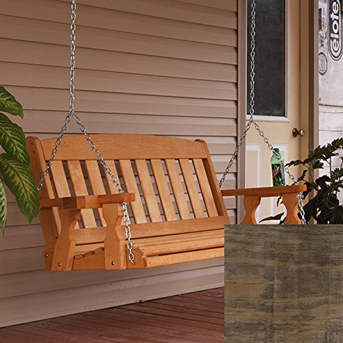 Amish Heavy Duty 800 Lb Mission Treated Porch Swing with Hanging Chains and Cupholders (4 Foot, Dark Walnut Stain)