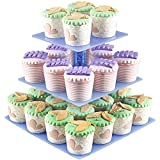 Cupcake Displays, 3 Tier Acrylic Cupcake Display Stands For Wedding Birthday Parties, Clear Plastic Cupcakes Stand Display Rack Holder Tower 28 pcs Mini Cup Cakes Square CARDBORD CUPCAKE STAND